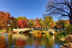 Boogbrug, Central Park in de Herfst Royalty-vrije Stock Foto's