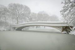 Boogbrug die in sneeuw, Central Park, NYC wordt behandeld Royalty-vrije Stock Fotografie