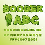 Booger ABC. Green slime letters. Snot font. Snivel alphabet. Sli. Ppery lettering. Mucus typography Stock Photo