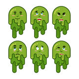 Booger emotions set. Cheerful and sad snot. Evil and good of sni. Vel. Green slime lump Stock Image