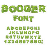 Booger font. Slippery lettering. Snivel alphabet. Green slime le. Tters. Snot ABC. Mucus typography Stock Photos
