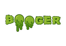 Boogertypografi Gröna slambokstäver Hal bokstäver för snor Arkivfoto