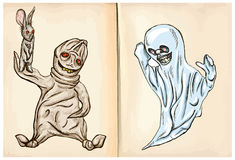 Boogey and ghost - hand drawings, vector Royalty Free Stock Photos