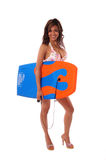 Boogie Board Babe 6. Bikini model with a Boogie Board Isolated over white royalty free stock photography