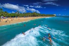 Boogie boarding Waikiki Royalty Free Stock Photography