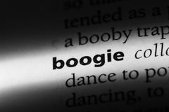 Boogie. Word in a dictionary.  concept stock photos