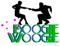 Boogie woogie concept. Silhouette dancers over boogie woogie text Royalty Free Stock Photos