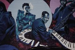 Boogie woogie & x28;early piano blues form& x29;. This is a picture of street art/graffiti that was taken in Washington DC Stock Image