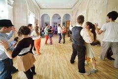 Boogie-woogiepartij in creatief landgoed FreeLabs Royalty-vrije Stock Afbeeldingen