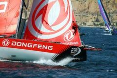 Boogmening van Team Dongfeng die na beginbeen 1 Alicante-Lissabon varen Royalty-vrije Stock Foto