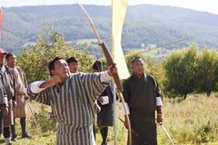 Boogschieten, Bumthang-Vallei, stock foto