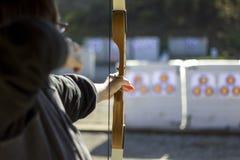 Boogschieten in een het Schieten Waaier royalty-vrije stock foto's