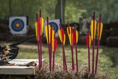 Boogschieten en heldere pijlen in plattelander die in openlucht schieten Royalty-vrije Stock Afbeeldingen