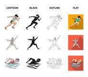 Boogschieten, karate, het lopen, het schermen De olympische pictogrammen van de sport vastgestelde inzameling in beeldverhaal, zw stock illustratie