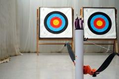 Boogschietenboog, pijlen en doelstellingen Stock Fotografie