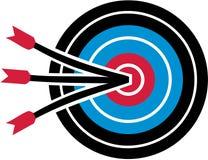 Boogschietendoel met drie pijlen stock illustratie