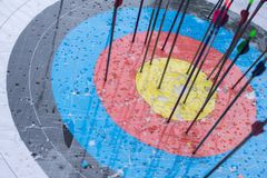 Boogschietendoel met pijlen op het Verschillende 3d bal Stock Fotografie