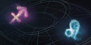 Boogschutter en Leeuw de verenigbaarheid van horoscooptekens Abs van de nachthemel royalty-vrije illustratie