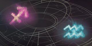Boogschutter en van Waterman de verenigbaarheid van horoscooptekens Nacht sk royalty-vrije illustratie