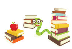 Book. S and a red apple green worm Royalty Free Stock Photography