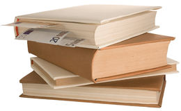 Book. Stack of books with the money Royalty Free Stock Photo