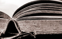 Book. An old monochromatic open old book on white background Royalty Free Stock Photos
