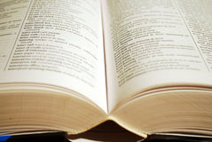 Book. View looking across an open book detail Royalty Free Stock Images