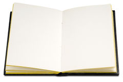 Book. An open blank hardcover book on white Stock Images