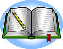 Book. Vector illustration of an open book with a red bookmark ribbon and a yellow pencil Stock Image