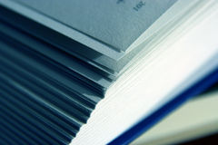 Book. Open book close up, blue tone Royalty Free Stock Image