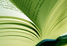 Book. Open book close up, green tone Royalty Free Stock Photography