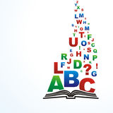 Book. Open book with brightly colored letters with space for your text Royalty Free Stock Images