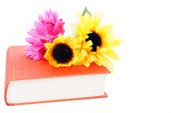 Book. And sunflower of a white background Royalty Free Stock Photography