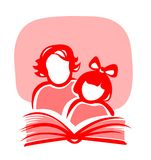 Book. Red silhouettes of the girl and the woman, reading the book Stock Photos