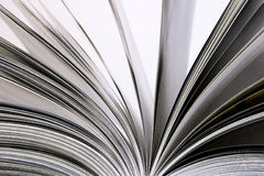 Book with open sheets. Close up to pages of an open book Stock Photo