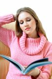 Book. Young blond woman with book royalty free stock image