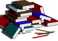 The book. A thick pile of books, the source of knowledge, wisdom stock illustration