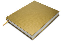 Book. A golden cover hardcover book on white - with clipping path Royalty Free Stock Images