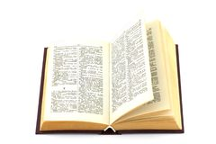 Book. Isolated photo of an old russian to english dictionary Royalty Free Stock Photography