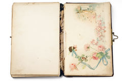 Book. An old opened notebook with the drawing on the right hand page Royalty Free Stock Photo