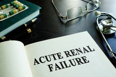 Acute renal failure. Book about acute renal failure royalty free stock image