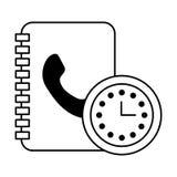 Book address clock time call center. Vector illustration royalty free illustration