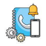 Book address smartphone bell call center. Vector illustration vector illustration