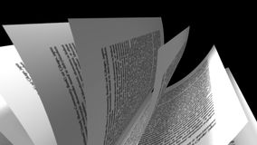 Book Animation of pages turning. And camera moving around stock footage