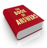 Book of Answers Wisdom Advice Help Manual. A red book with the words Book of Answers, a manual that gives you advice and shares wisdom to help you succeed in Royalty Free Stock Image