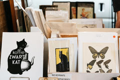 Book and antiques market stall in the street of The Hague stock image