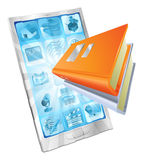 Book app phone concept. Book icon coming out of phone screen concept for ebooks, reader apps, online database, elearning stock illustration