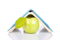 Book and apple. Opened book and green apple with reflection on white Royalty Free Stock Photo