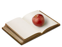 Book with apple (clipping path ) Stock Photo