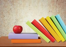 Book. Apple Study White Classroom Education Backgrounds Stock Photo